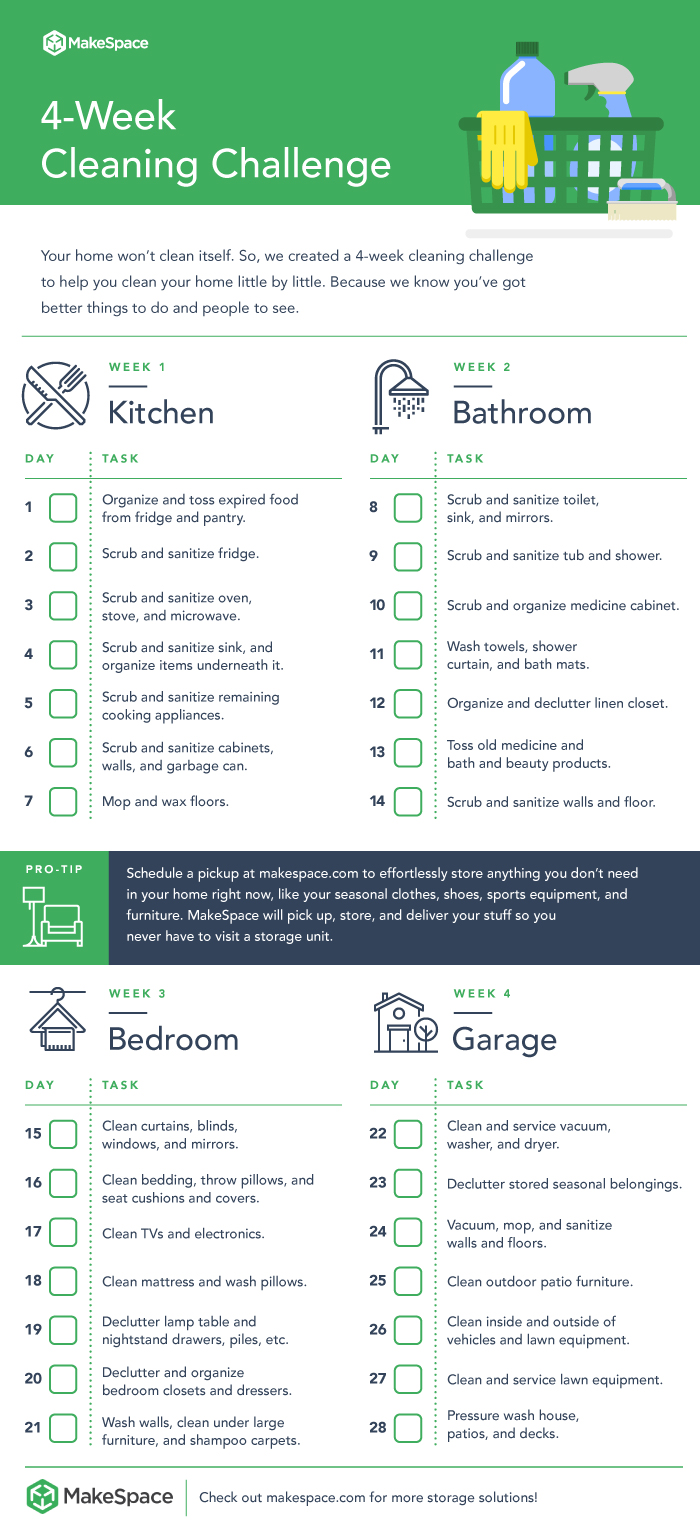 4-week cleaning challenge checklist by MakeSpace, a full-service storage company in NYC, Chicago, Washington DC, and Los Angeles