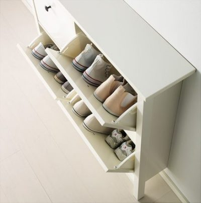 white ikea hemnes shoe cabinet with 4 compartments