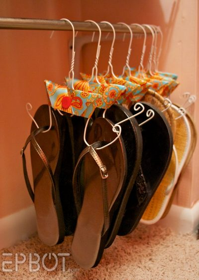 diy sandal holders made from wire hangers