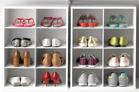 white 8-pair shoe organizer from the container store