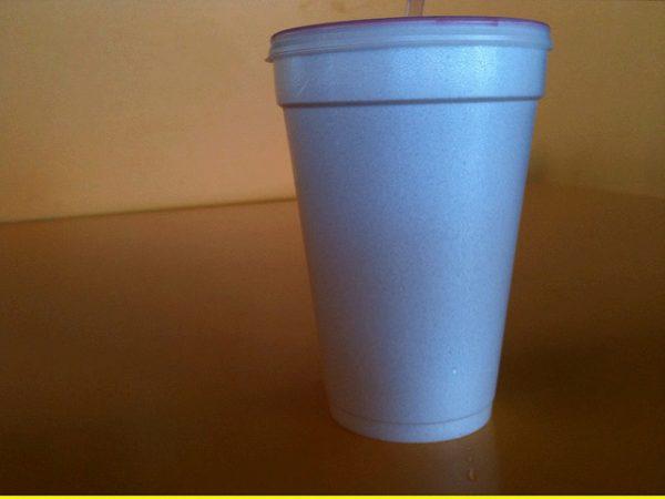styrofoam cup of jamaica agua fresca