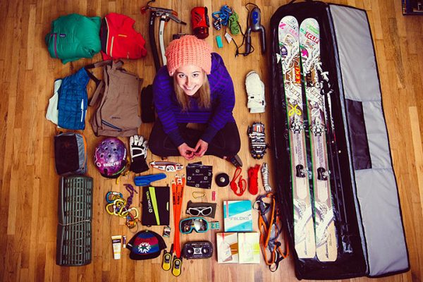 ski gear inventory organized neatly