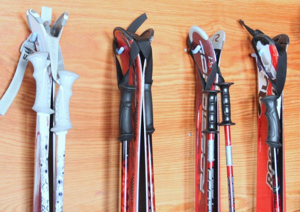 4 pairs of skis and ski poles strapped together