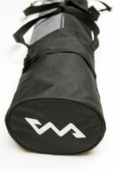 black skiweb skis and ski pole bag