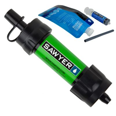 packing a sawyer mini water filtration system lets you filter and drink purified water while you're hiking