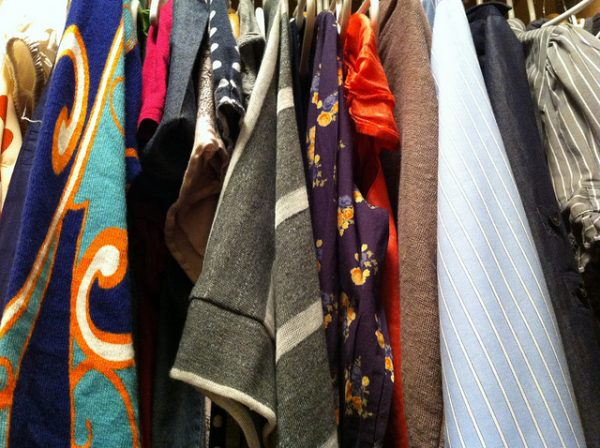 closeup of a clothes closet