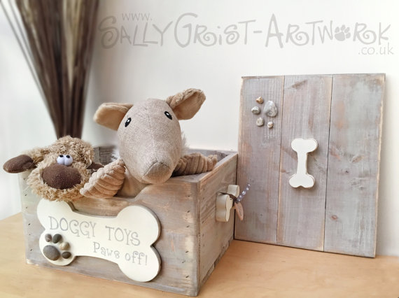 handmade softwood dog toy box by sally grist