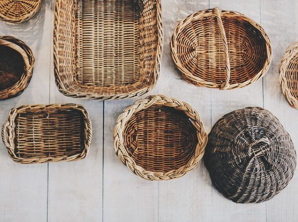 empty wicker baskets