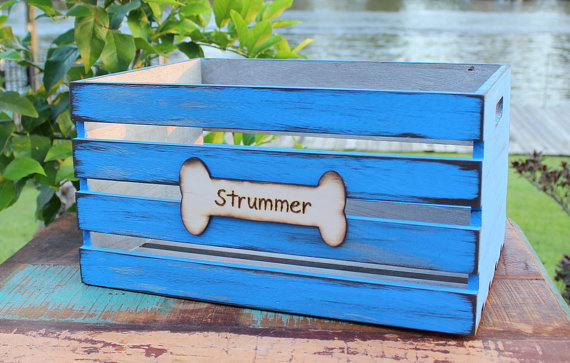 personalized and bright blue wooden dog toy box storage crate by our sweet home alabama