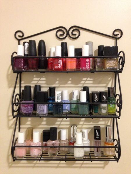 wall-mounted nail polish spice rack