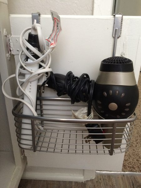 over the door basket as a hair dryer and straightener holder