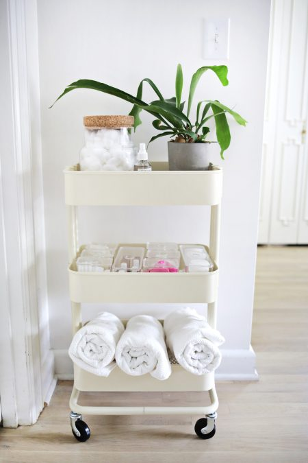 ikea raskog cart repurposed into a rolling bathroom cart