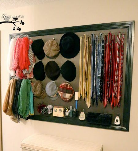 diy closet organizer using molding, pegboard, fabric, and hooks