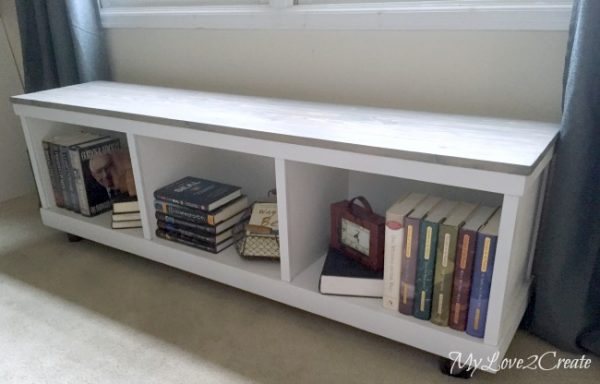 diy storage bench with cubbies storing books