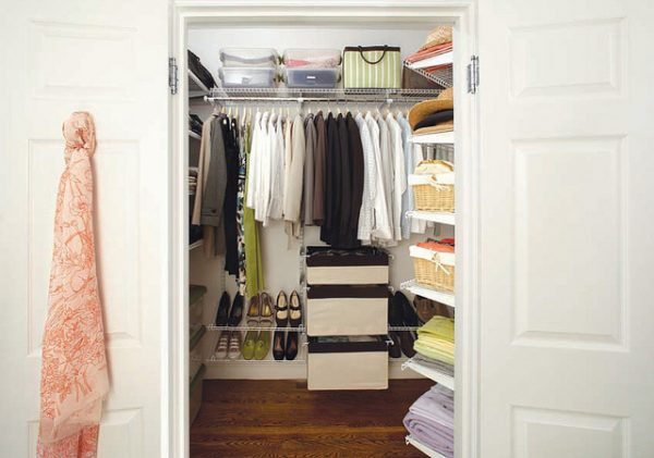 rubbermaid homefree series closet system organizes, stores, and hangs clothes, shoes, bins, and more