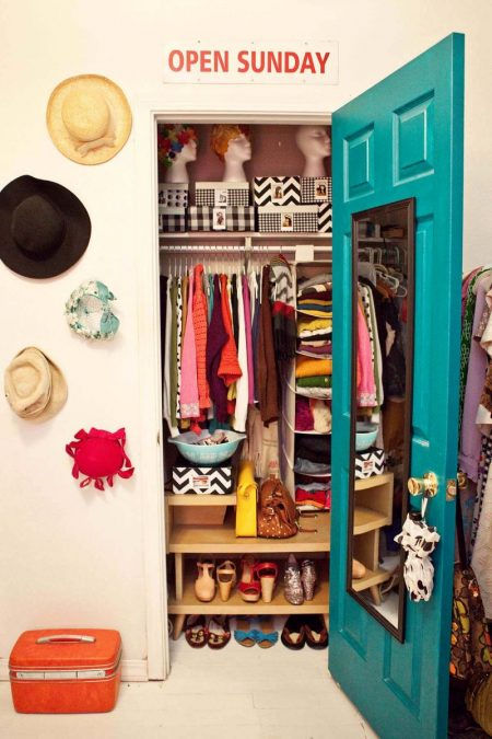 most-worn clothes stored at eye level in a small closet