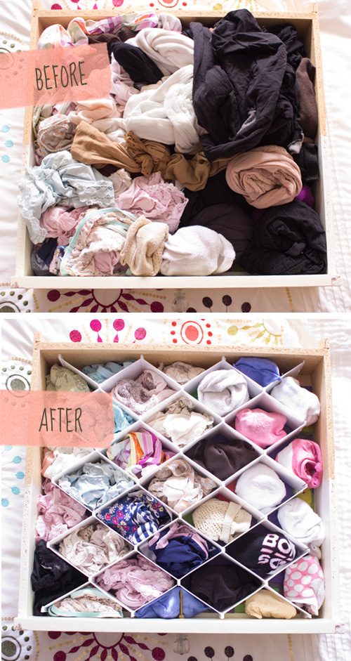 underwear drawer before after organizing it with dividers
