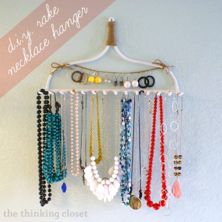 diy necklace holder made from a rake head