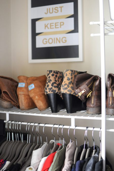 wire closet shelving storing shoes and hanging shirts on huggable hangers