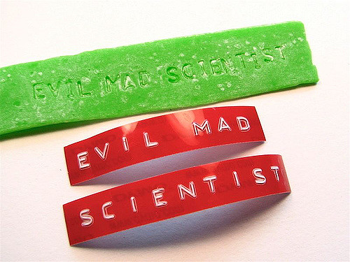 "dymo label tape that reads ""evil mad scientist"""