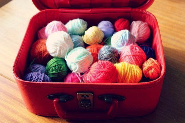 store yarn inside suitcase