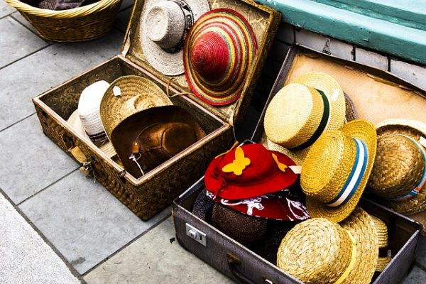 hat storage idea: store them inside suitcases