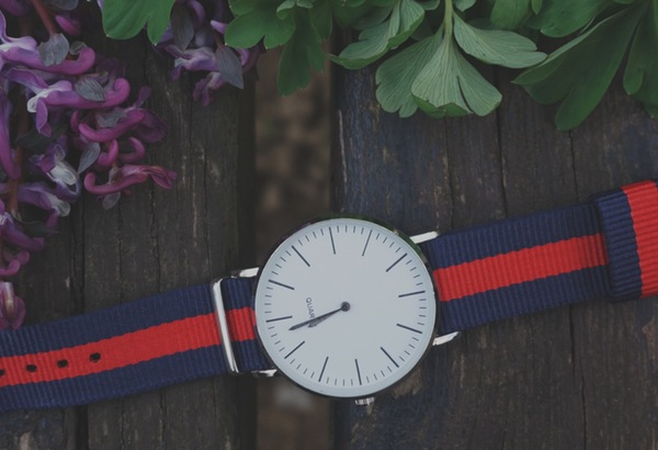 quartz watch with blue and red strap