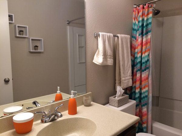 decluttered bathroom with a clean mirror