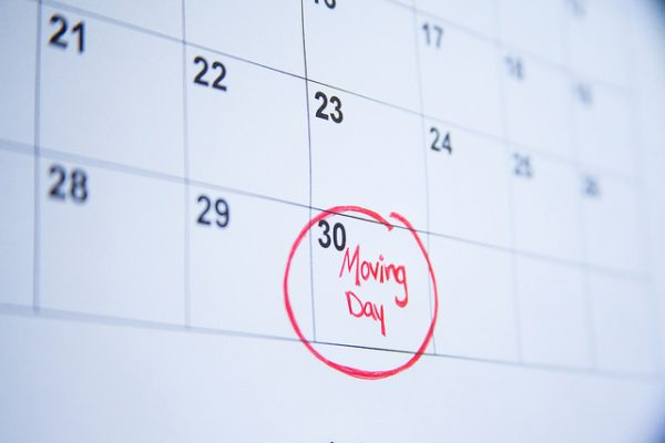 moving day circled in red on a calendar