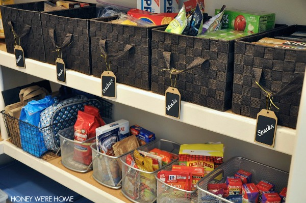 pantry baskets with labels