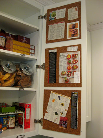 cork board kitchen cabinet door