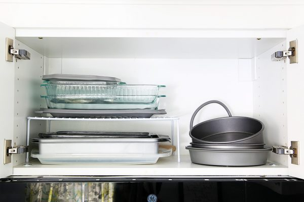 kitchen cabinet shelf risers above microwave