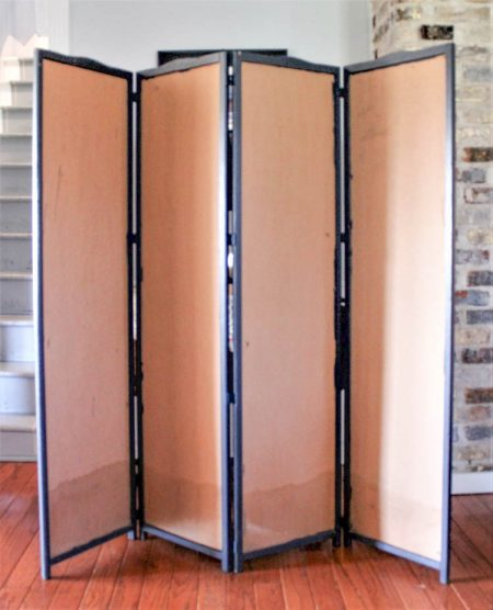 4-panel room divider with a wooden frame and cardboard inserts