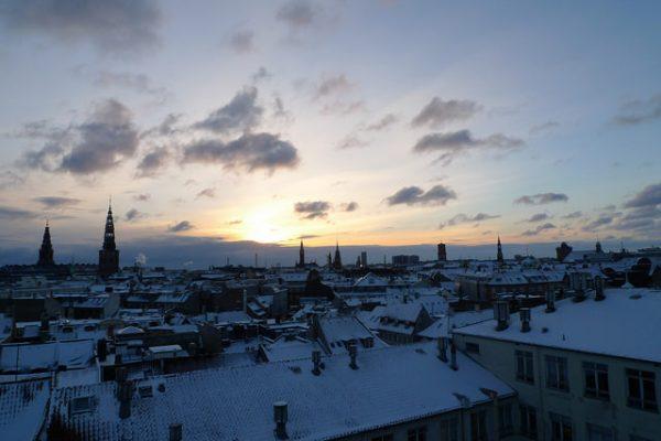 rooftop view of winter in kongens nytorv, a public square in copenhagen, denmark