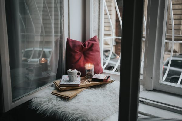 hygge window nook in a home