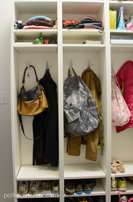 ikea mudroom lockers storing backpacks, bags, shoes, jackets, vests, notebooks, clothes, and other school accessories