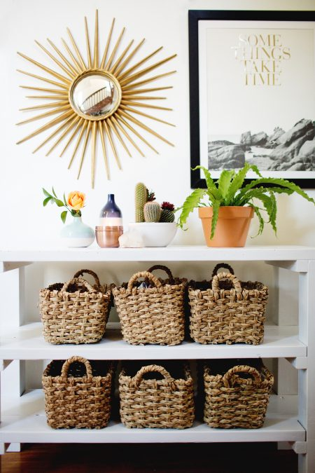 diy entryway table with wicker baskets