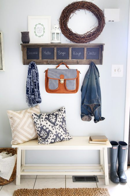 Entryway Shelf With Hooks Chalkboards And A Bench