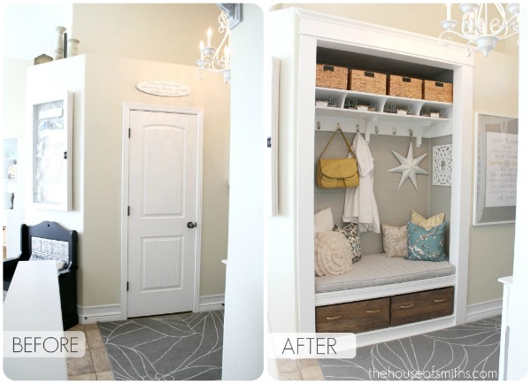 Entryway Closet Makeover With A Storage Nook Bench Drawers Shelf Hooks