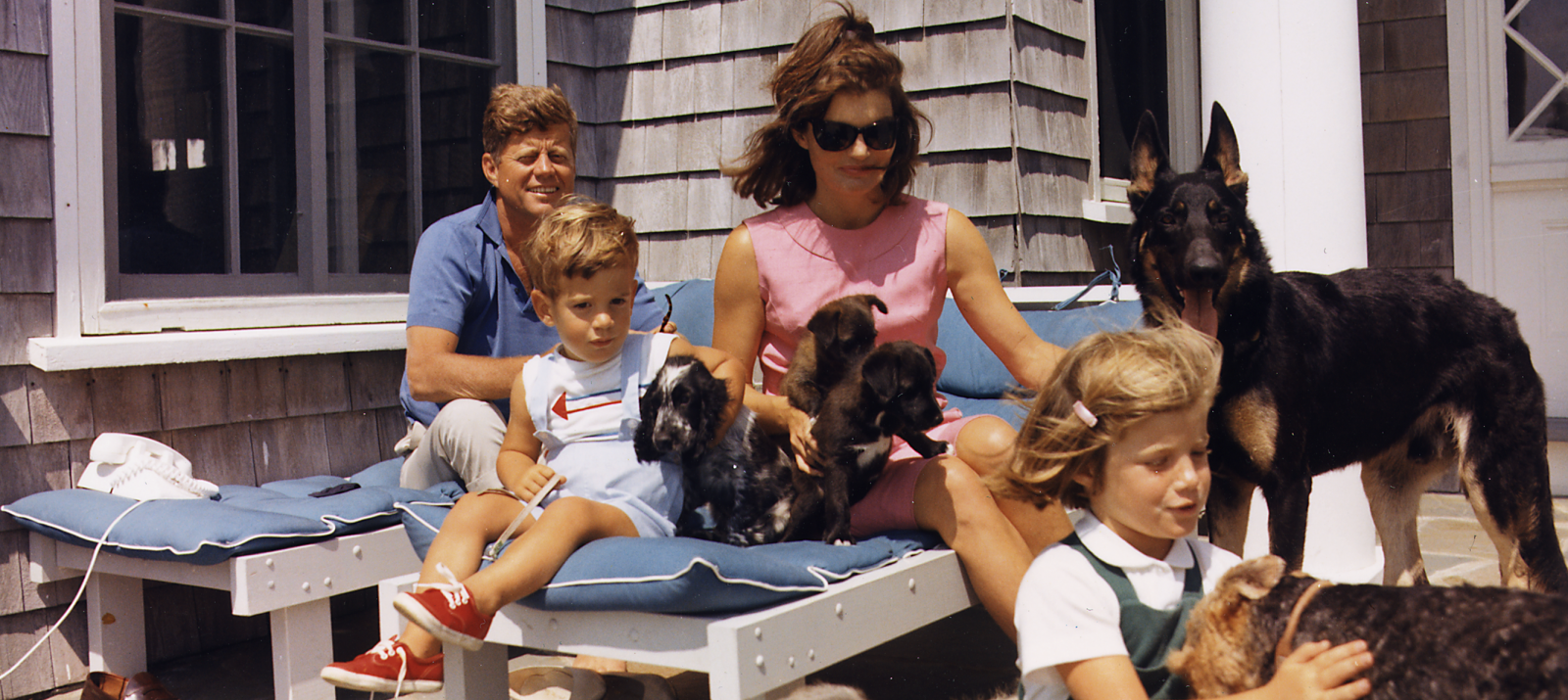 kennedy family with dogs in hyannis port, massachusetts