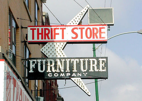 outdoor thrift store furniture company sign in chicago, il