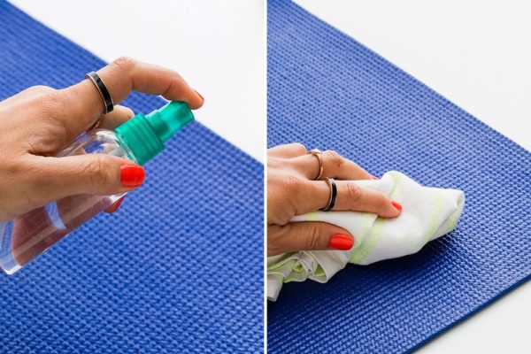 how to clean yoga mat naturally by brit and co: use a homemade yoga mat spray cleaner and cloth