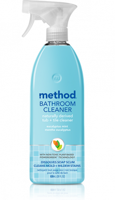 a bottle of eucalyptus mint method bathroom cleaner, a naturally derived tub and tile cleaner