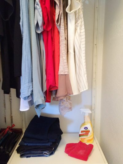 clean closet shelf with a wet rag and all-purpose cleaner
