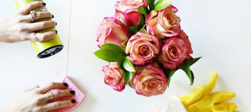 5 stages of spring cleaning with white powder, a pink sponge, yellow rubber gloves, and pink and yellow roses from a beautiful mess