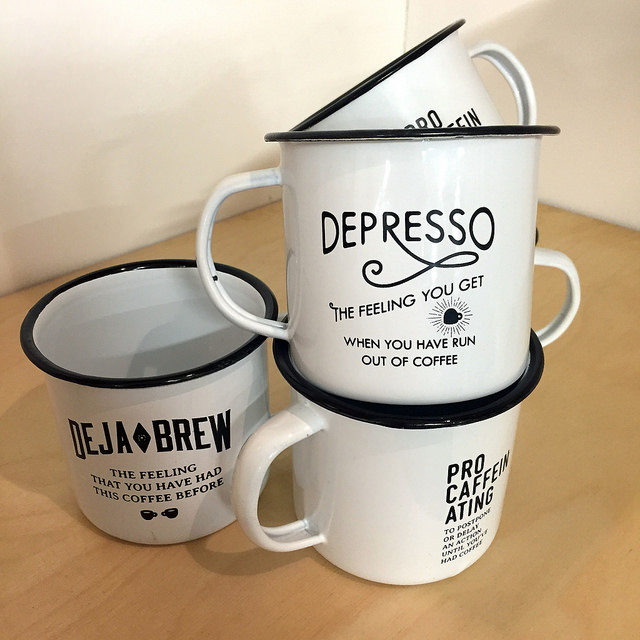 cool coffee mugs from the london coffee festival at the old truman brewery