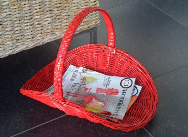 eco-friendly red wicker magazine basket