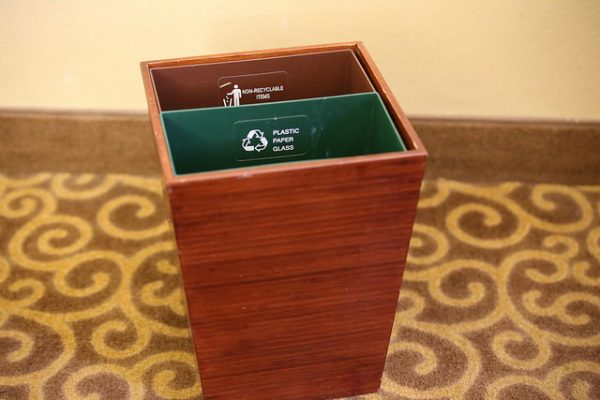 recycle and non-recycle bin from a doubletree hotel