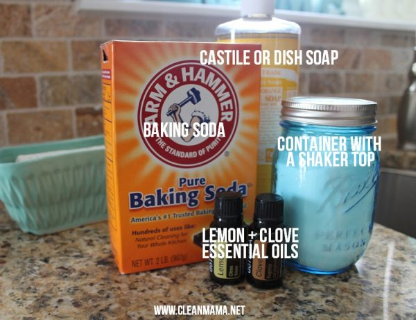 clean mama's lemon and clove nightly sink scrub ingredients: baking soda, lemon essential oil, clove essential oil, castile soap, and a ball mason jar
