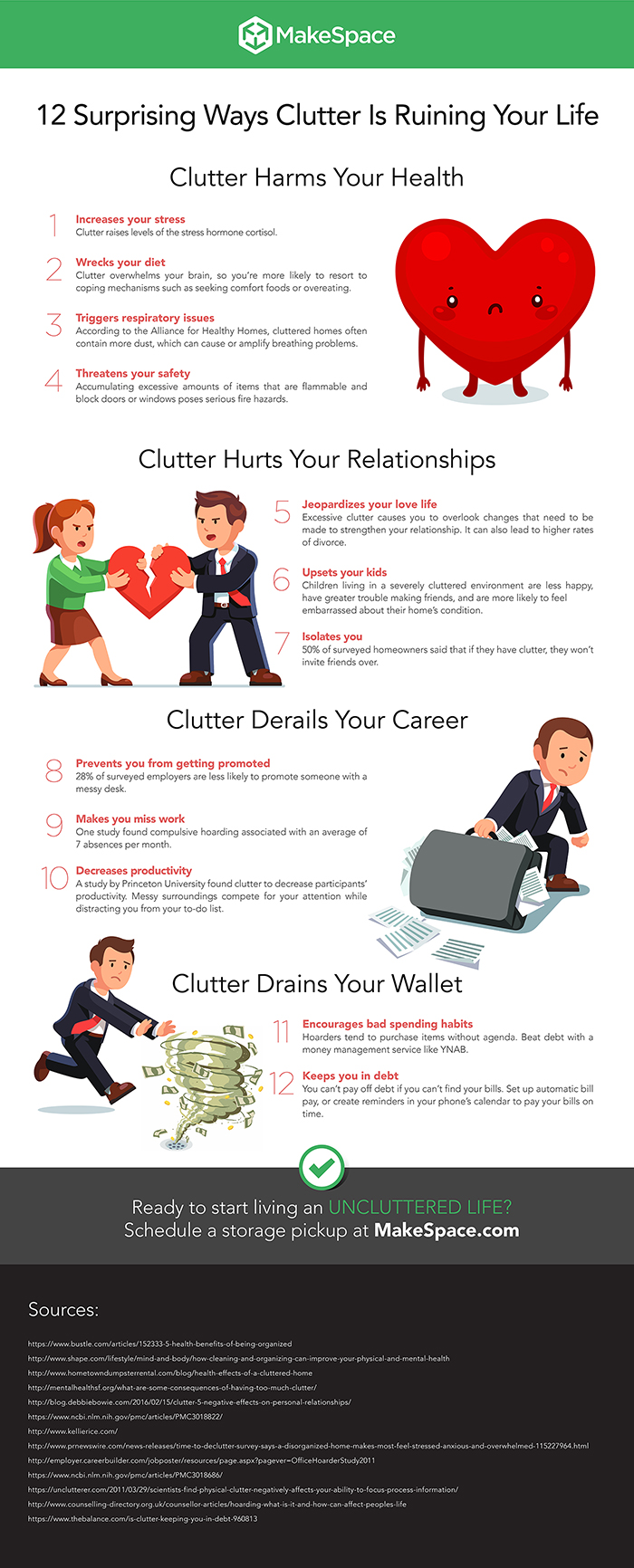 clutter infographic by makespace storage